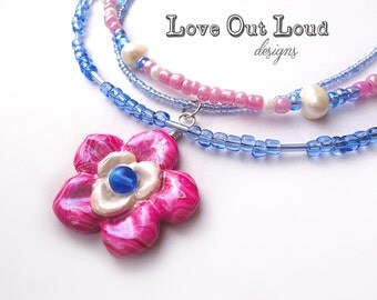 Pink & Blue Flower Beaded Necklace with Pearl White Accents