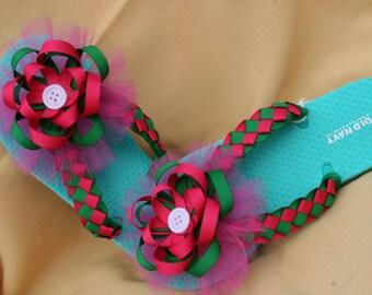 Woven Flower Flip Flops