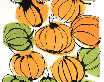 Halloween Mod Pumpkins Monotype Print Art OOAK (One of a Kind), Signed