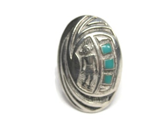 Vintage Sterling Enamel Kokopelli Ring Size 7
