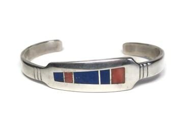 Vintage Aaron Toadlena Spiny Oyster Lapis Navajo Cuff Bracelet