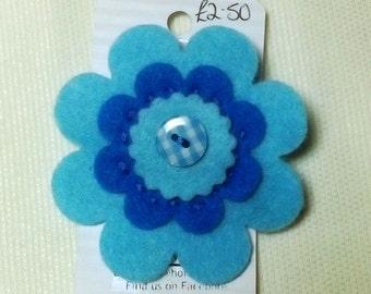 Felt Brooch, Floral Brooch, Blue, Flower Brooch, Button Hole, Blue Brooch, Felt, Hand Stitched, Daisy, Flower