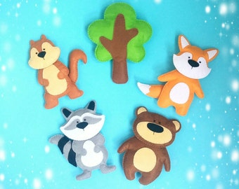 Woodland nursery animals Forest animals Baby toy Stuffed animals Woodland nursery Felt animals Plush animals Raccoon Fox Bear Сhipmunk Tree