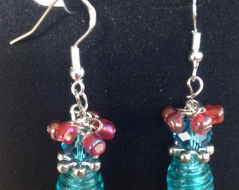 Earrings Hand-made Dangley Teal and Coral Beads for Sensitive Ears