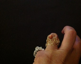 ring ,copper color hand crafted with wire and  semi precious moon stone