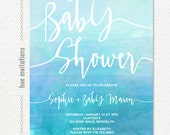 boys blue baby shower invitations, aqua blue watercolor printable baby shower invitation, ombre watercolor texture customized invitation