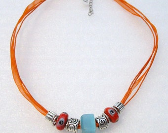 878 - NEW Orange Beaded Necklace
