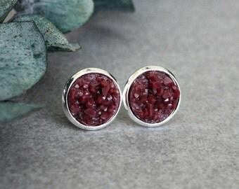 Maroon Stud Earrings, Maroon Earrings, Maroon Druzy Earrings, Maroon Post Earrings, Maroon Druzy Studs, Burgundy Stud Earrings 10MM