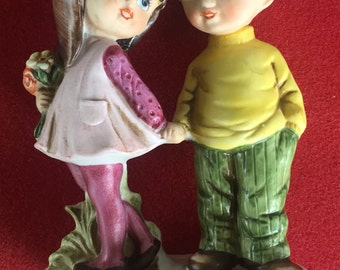 Vintage Moppets 1971 boy girl porcelain figurine Fran Mar Japan