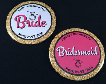 Bachelorette Party Buttons | Gold and Pink Bridal Party Buttons | Bridesmaid Buttons | Custom 3 Inch Pinback Buttons | Wedding Party Favors