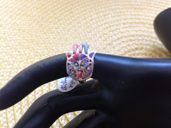 Handmade Sterling Silver and Polymer Clay Hamsa Ring Size 5