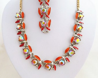 Orange and Red Enamel and Aurora Borealis Rhinestone Chain Necklace and Bracelet Vintage Set Unsigned 'Exquisite'