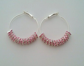 Silver Plated Pink Hoop Earrings