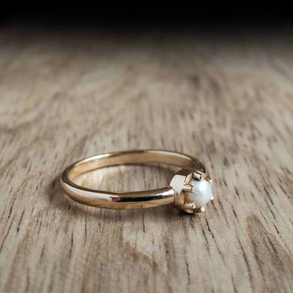 Gold Pearl Ring Setting  Simple Pearl Ring  White Pearl Jewelry  June  Birthstone