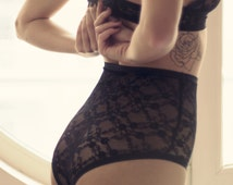 Sleep Shorts, Sexy Lace Panties, Black Sexy Panties, Black Knickers, High Waist Lingerie, High Panties, Womens Knickers, Lace Knickers