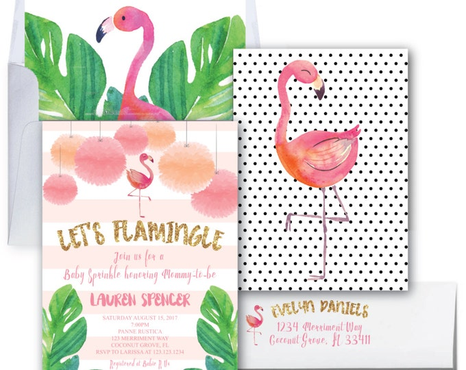 Flamingo Baby Sprinkle Invitation // Let's Flamingle Invitation // Gold Glitter // Baby Shower // Watercolor // COCONUT GROVE COLLECTION