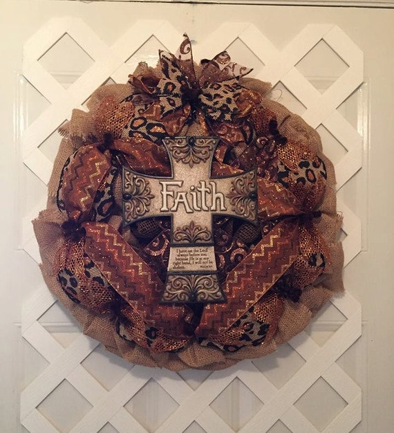 Christian Burlap Wreath - Burlap Cross Wreath - Religious Burlap Wreath - Cross Wreath -  Cross -  Everyday Wreath - Burlap Wreath - Burlap