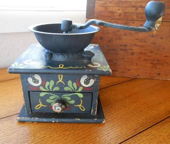 Folk Art Coffee Grinder Pennsylvania Dutch Design Chippy Black Paint Farmhouse Kitchen Decor
