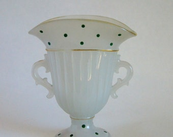 Fan vase milk glass, green dot pattern