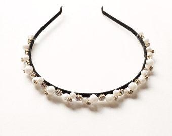 Kelsey Headband - Wedding headband - Boho headband - Beaded headband - Vintage style - Rhinestone studs - Goddess - Woodland headband