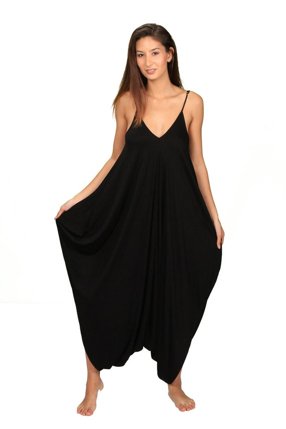 Anjali Loose Fitting OnePiece Womens Jumpsuit in Black Bamboo Fabric