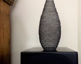 "Sculptural Vessel, ""Charcoal"", wire crochet"