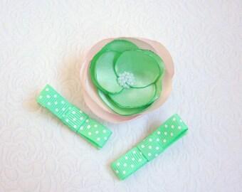Spring hair clips, Green hair clips, Flower hair clips, Girls hair clips, Baby hair clips, Dotted girls clips, Green rose flower clip