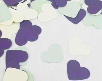 500 Winter Wedding Confetti Decor - Sage Color Palette for Winter Wedding - Plum and Ivory Heart Confetti