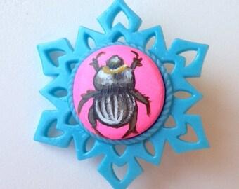 Hand painted Scarab Beetle Brooch pin