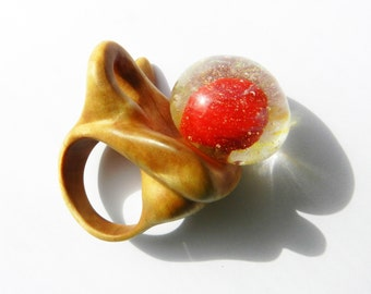 Wooden ring with lampwork, Hand carved ring, Glass Ring