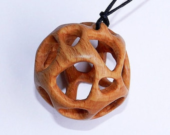 Wooden Pendant, Hand Carved Wood Pendant.