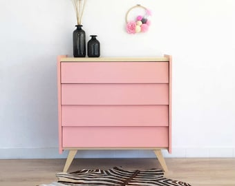 Dresser, chest of drawers, storage, mid century modern, vintage & scandinavian inspiration, pink color, Rosalie model