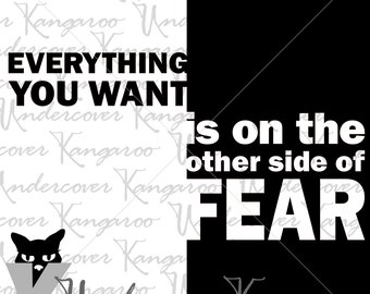 Everything You Want Is on the Other Side of Fear - SVG Cutting File - Graduation, Motivational - Commercial Use Allowed