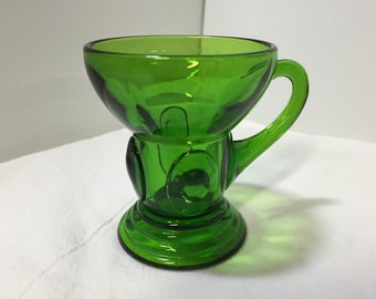 New Martinsville Glass Green Moondrops Whiskey Glass Green Glass Mug Vintage Bar Glasses