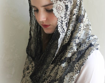 EVINTAGE Embroidered Lace Metallic Gold and Black Lace Chapel Veil Mantilla Infinity Veil Latin Mass