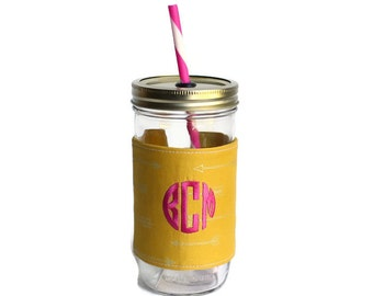 Mustard Arrows Mason Jar Tumbler, Monogram Mason Jar Cup, Gifts for Her, Unique Gifts, Gifts Under 25, Monogram Gifts, Personalized Gifts