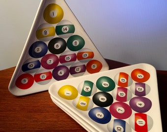 Four Luminarc snack plates shaped like a billiards rack with ball images