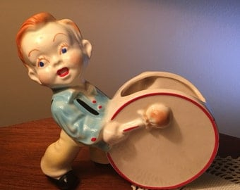 Rare vintage drummer boy planter or vase from the fifties