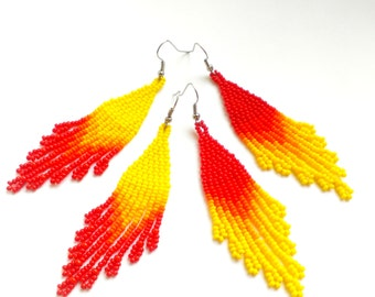 Beaded earrings Dangle earrings Beaded jewelry Long beaded earrings Seed bead earrings Fringe earrings Beadwoven Red earrings Yellow