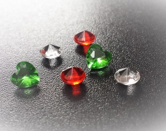 Red, green and Clear Crystal Floating Charm Set for Floating Lockets-Gift Idea