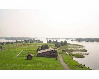 rustic landscape photography, Lake summer photos, island fog horizon, wall decor, fine art photography, Waterfront, green shore, color photo
