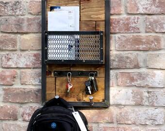 Modern Industrial Entryway Mail Organizer | Keys Holder | Backpack Dorm Room  | Coat Scarf Hook Wall Rack |  Tablet Holder