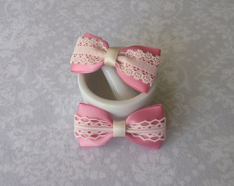 Rose Pink Satin & Off-White Ivory Lace Bow, Girls Hair Accessory, Barrette, Ponytail, Clip, Toddler, Flower Girl, School Photos, Valentine's
