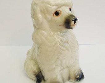 vintage ceramic poodle white poodle dog ornament
