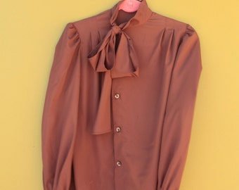 70's Brown Silk Bow Blouse