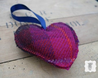 Harris Tweed hanging heart decoration - Lavender scented - ornament - gift - valentines day - mother's day - made in Scotland