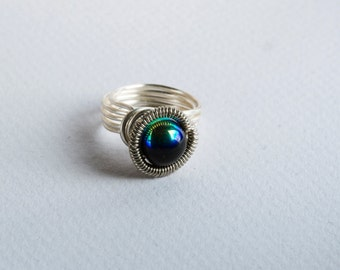 Wire Wrapped Ring ⊿  Glass Bead Ring ⊿  Any Size