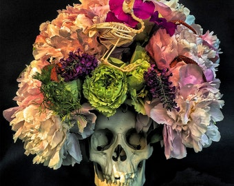 Beautiful Skull with Floral Headdress Dia De Los Muertos PRINT 622 by Michael Brown