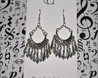 Tapered Crystal Fringed Earrings