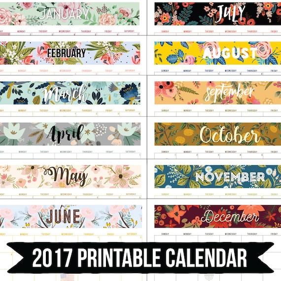 2017 Desk Wall Calendar Planner Printable Digital Download Patterns Watercolor Floral 8.5x11 11x17